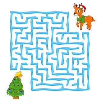 子供のための正方形の迷路クリスマスゲーム子供のための冬のパズル