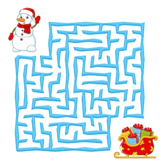 Square maze christmas game for kids winter puzzle for children labyrinth conundrum