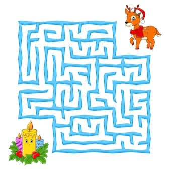 Square maze christmas game for kids winter puzzle for children