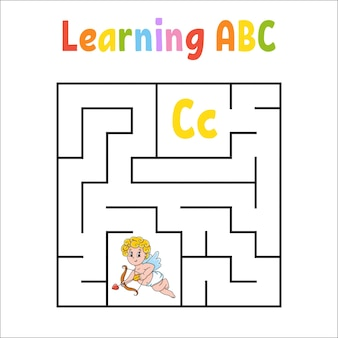 Square maze. education worksheet.