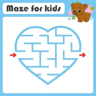 Квадратный лабиринт игра для детей. животное медведь. пазл для детей. мультяшный стиль загадка лабиринта.