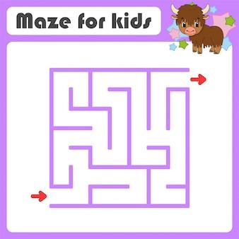 Квадратный лабиринт игра для детей. животный як. пазл для детей. мультяшный стиль загадка лабиринта.