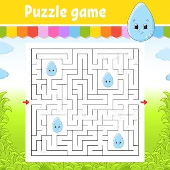 Квадратный лабиринт. игра для детей. симпатичная капля. пазл для детей. загадка лабиринта. найдите правильный путь. мультипликационный персонаж.
