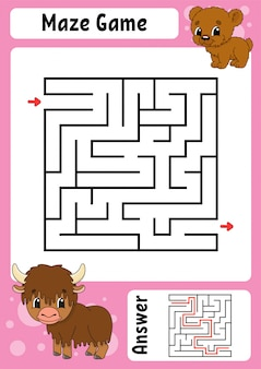 正方形の迷路。子供のためのゲーム。面白いラビリンス。