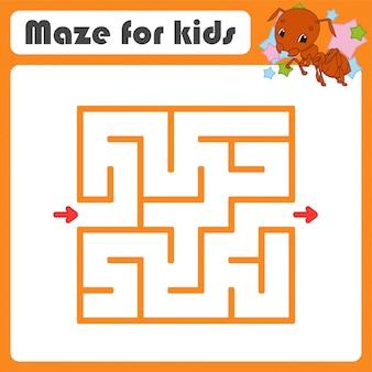 Квадратный лабиринт игра для детей. насекомое муравей. пазл для детей. мультяшный стиль загадка лабиринта.