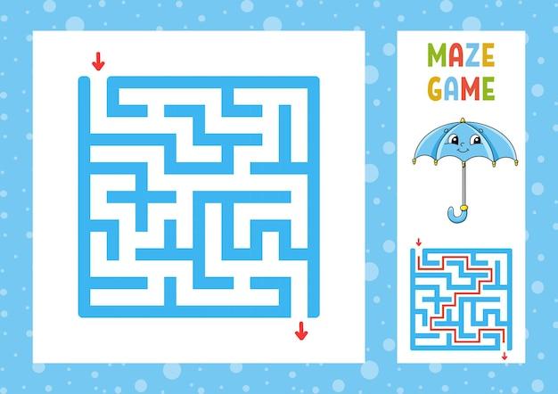子供のための正方形の迷路ゲーム迷路の難問