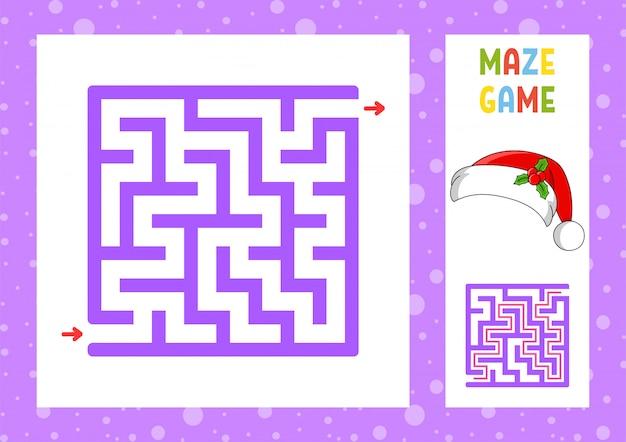 Квадратный лабиринт игра для детей. пазл для детей. новогодняя тема.