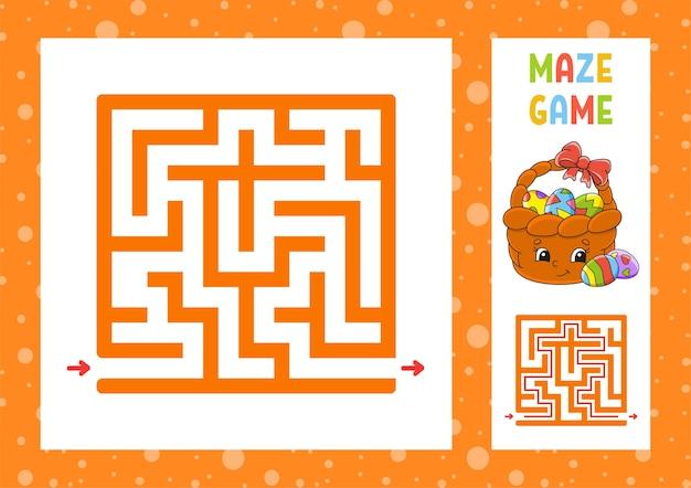 Квадратный лабиринт. игра для детей. пазл для детей. счастливый персонаж.