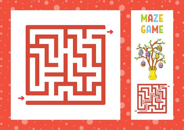 사각형 미로. 아이들을위한 게임. 아이들을위한 퍼즐. 행복한 캐릭터.