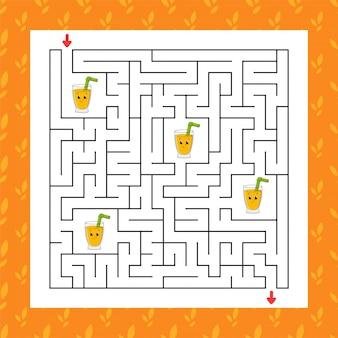 Квадратный лабиринт игра для детей. пазл для детей. загадка лабиринта. Premium векторы
