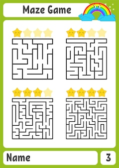 정사각형 미로. 아이들을위한 게임. 아이들을위한 퍼즐. 미로 수수께끼.