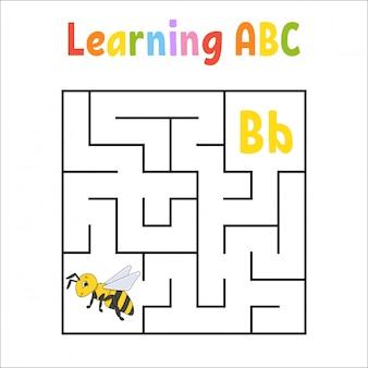 Квадратный лабиринт игра для детей. квадратный лабиринт. учебный лист.