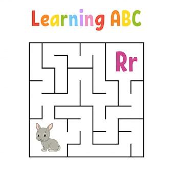 Квадратный лабиринт игра для детей. кролик кролик животное. квадратный лабиринт. учебный лист. страница активности.