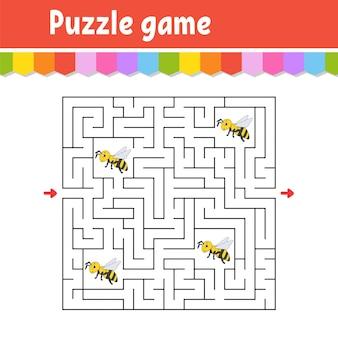 Квадратный лабиринт. игра для детей. полосатая пчела пазл для детей. загадка лабиринта. найдите правильный путь. мультипликационный персонаж.