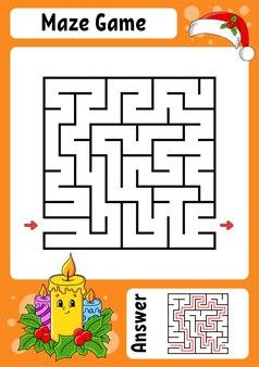 Квадратный лабиринт. игра для детей. зимняя тема.
