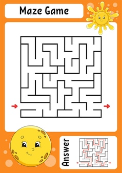子供のための正方形の迷路ゲーム