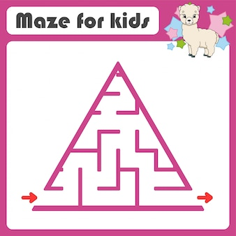 Square maze. game for kids. animal alpaca. puzzle for children. cartoon style. labyrinth conundrum.