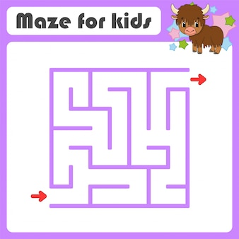 Square maze. game for kids. animal yak. puzzle for children. cartoon style. labyrinth conundrum.