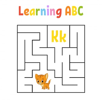 Square maze. game for kids. cat animal. quadrate labyrinth. education worksheet. activity page.