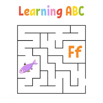 Square maze. game for kids. fish. quadrate labyrinth. education worksheet. activity page.