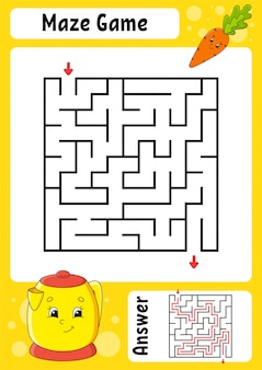 Square maze. game for kids. funny labyrinth. education developing worksheet. activity page.