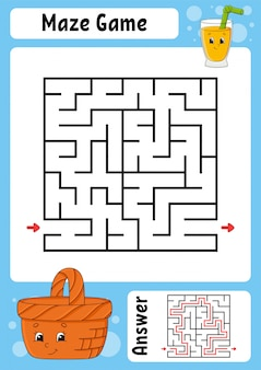 Square maze. game for kids. funny labyrinth. education developing worksheet.