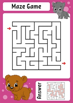 Square maze. game for kids. funny labyrinth.