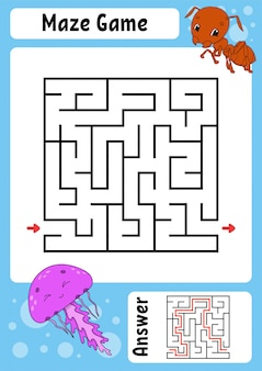 Square maze. game for kids. funny labyrinth