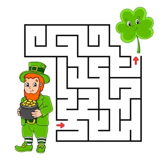 Square maze. game for kids. leprechaun and clover. puzzle for children. labyrinth conundrum.