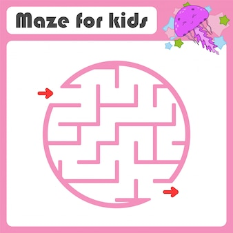 Square maze. game for kids. marine jellyfish. puzzle for children. cartoon style. labyrinth conundrum.