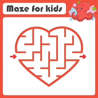 Square maze. game for kids. puzzle for children. cartoon style. labyrinth conundrum.