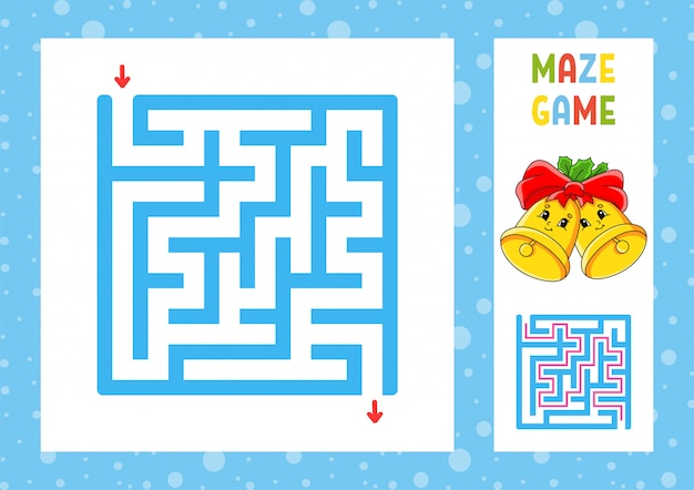 Square maze. game for kids. puzzle for children. christmas theme.