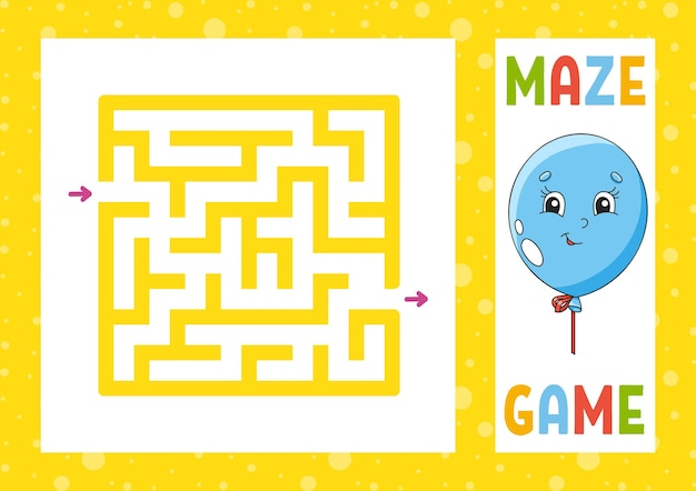 Square maze game for kids puzzle for children happy character labyrinth conundrum