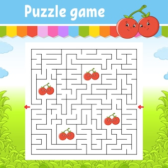 Square maze. game for kids. puzzle for children. labyrinth conundrum. color vector illustration.