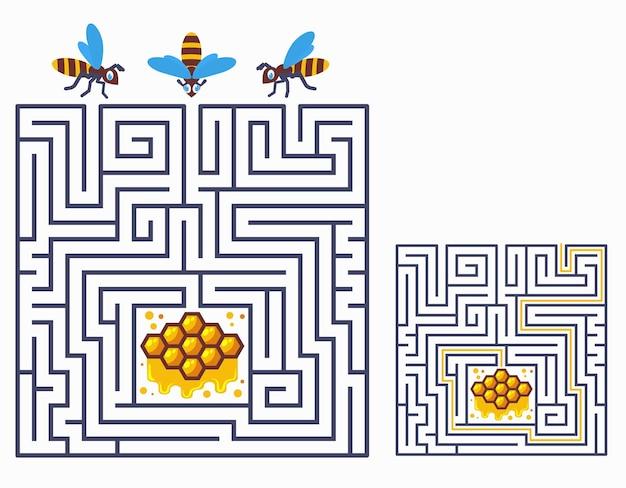 子供のための正方形の迷路の迷宮ゲーム。ミツバチが蜂の巣状になる方法を見つけましょう。