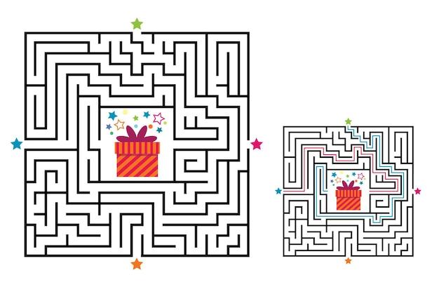 子供のための正方形の迷路の迷宮ゲーム。ラビリンスロジックの難問。 4つの入り口。