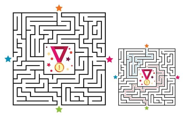 子供のための正方形の迷路の迷宮ゲーム。メダルとの迷宮論理の難問。