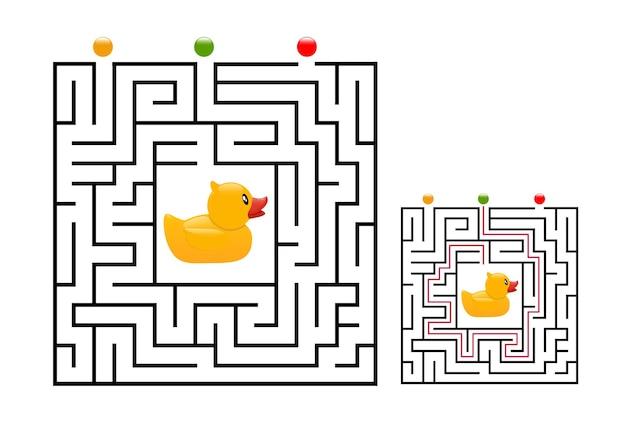 Квадратный лабиринт с резиновой уткой для детей. логическая головоломка лабиринта. три входа и один правильный путь.
