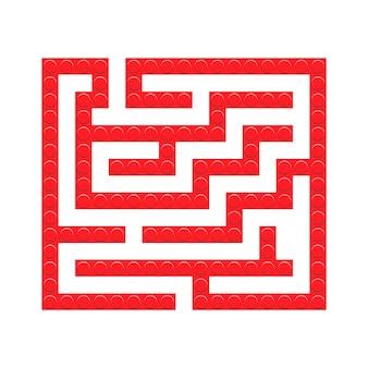 子供のための正方形の迷路赤レンガのおもちゃの迷路ゲーム。ラビリンスロジックの難問。