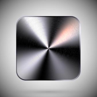 Square metallic button template steel quadratic tool chrome aluminum plate icon textured surface