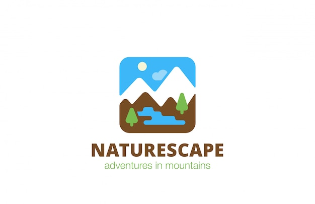 Square nature landscape travel logo flat icon.