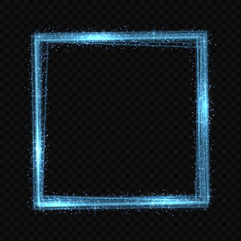Square neon light tracing effect.