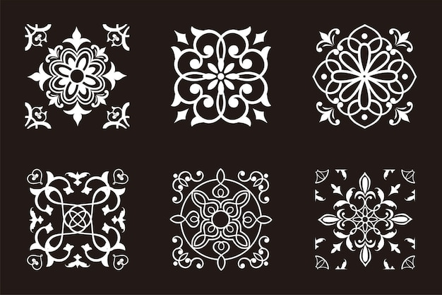 사각형 장식 디자인 일러스트 레이션