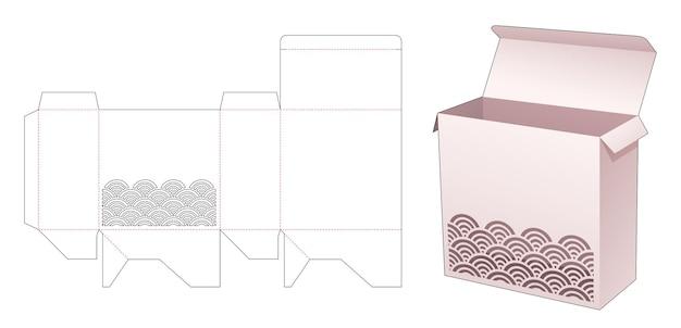 ステンシル波ダイカットテンプレートと正方形のパッケージボックス