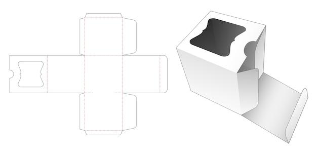 고급 창 다이 컷 템플릿이있는 정사각형 포장