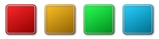 正方形の紙のステッカーまたはボタン。抽象的な紙のバナー