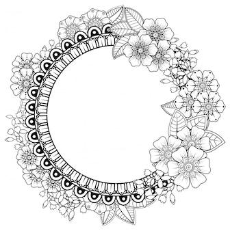 ヘナ、一時的な刺青、タトゥー、装飾用の花とマンダラの形の正方形のパターン。エスニックオリエンタルスタイルの装飾的な飾り。本ページを着色。