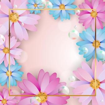 花のフレームとテキストの場所と正方形のパターン