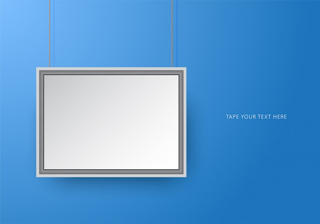 Square photo frame mock-up template on blue.