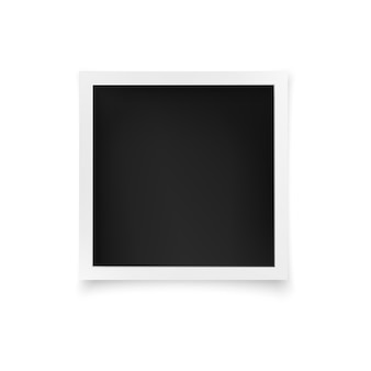 Square photo frame. white image blank with shadow isolated.